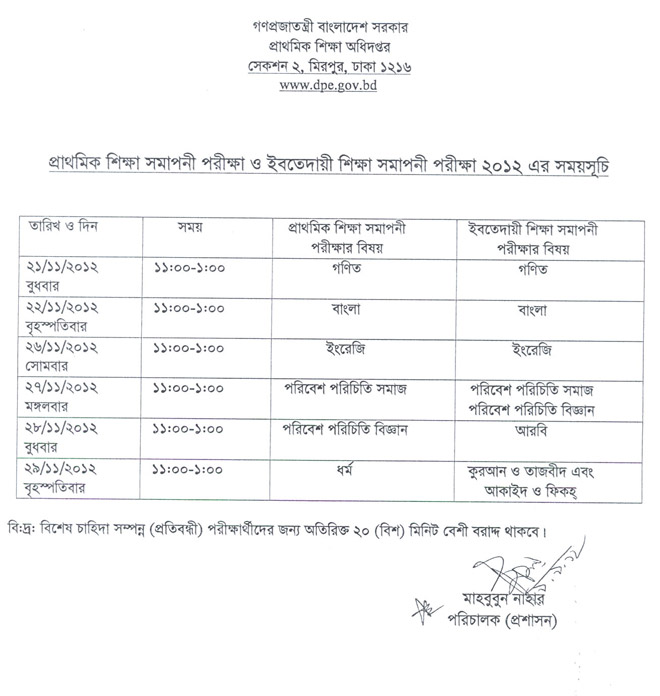 Primary Samapani exam TimeTable 2012